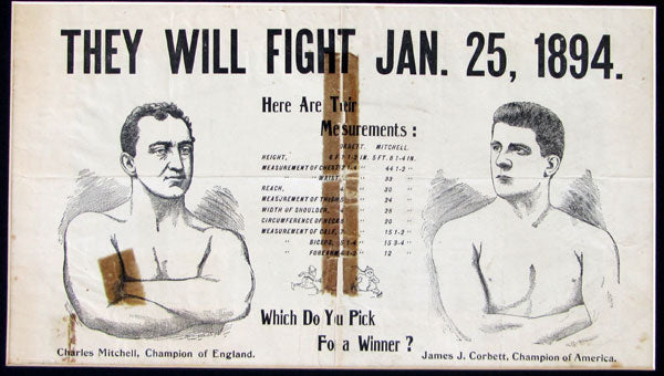 CORBETT, JAMES J.-CHARLEY MITCHELL PRE FIGHT POSTER (1894)