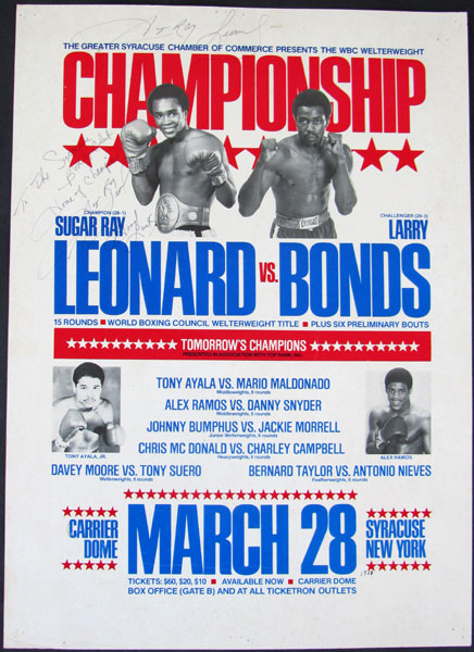 LEONARD, SUGAR RAY-LARRY BONDS VINTAGE SIGNED ON SITE POSTER (1981)