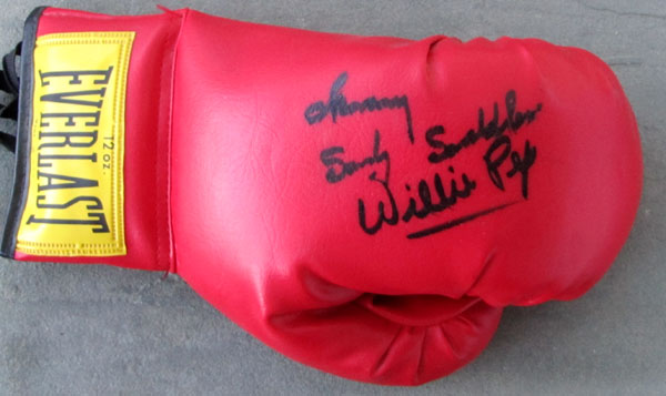 PEP, WILLIE & SANDY SADDLER SIGNED GLOVE