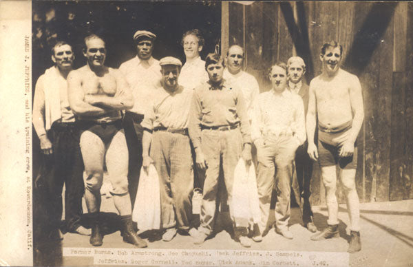JEFFRIES, JAMES J. TRAINING CAMP REAL PHOTO POSTCARD (FOR JOHNSON FIGHT)