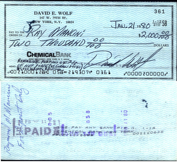 MANCINI, RAY  ORIGINAL SIGNED CHECK