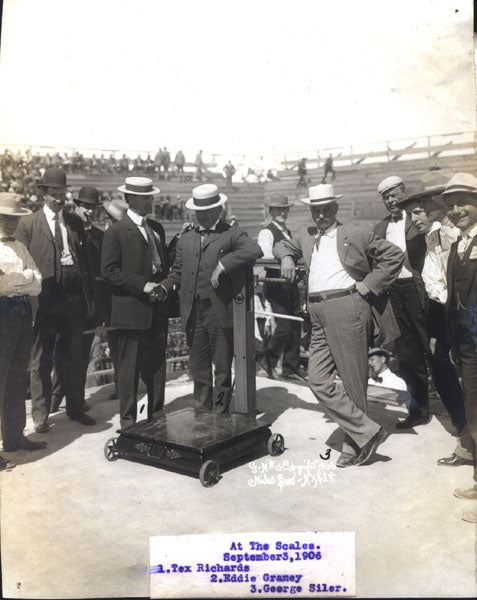 GANS, JOE-BATTLING NELSON AT THE SCALES ANTIQUE PHOTO WITH RICKARD & SILER (1906)