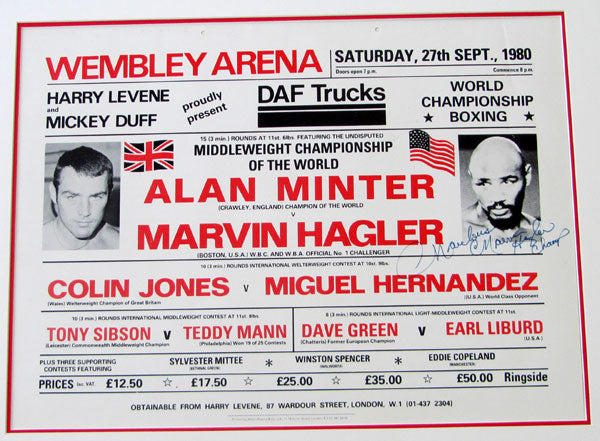 HAGLER, MARVIN-ALAN MINTER SIGNED ON SITE POSTER (1980)