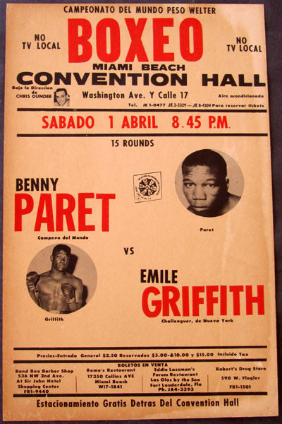 "GRIFFITH, EMILE-BENNY ""KID"" PARET ON SITE POSTER (1961-GRIFFITH WINS TITLE)"