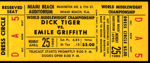 GRIFFITH, EMILE FULL CLOSED CIRCUIT TICKET (1966)
