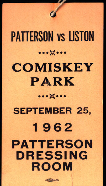LISTON, SONNY-FLOYD PATTERSON I DRESSING ROOM PASS (1962)