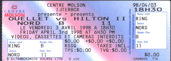 OUELLET, STEPHANE-ALEX HILTON FULL TICKET (1998)