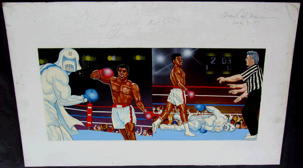 ALI, MUHAMMAD VS. MR. TOOTH DECAY SIGNED ARTWORK (1979)