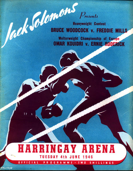 MILLS, FREDDIE-BRUCE WOODCOCK OFFICIAL PROGRAM (1946)