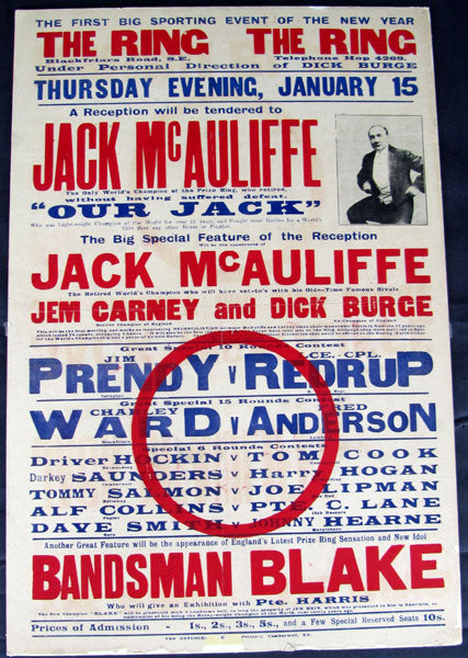 MCAULIFFE, JACK APPEARANCE & EXHIBITION POSTER (1914)