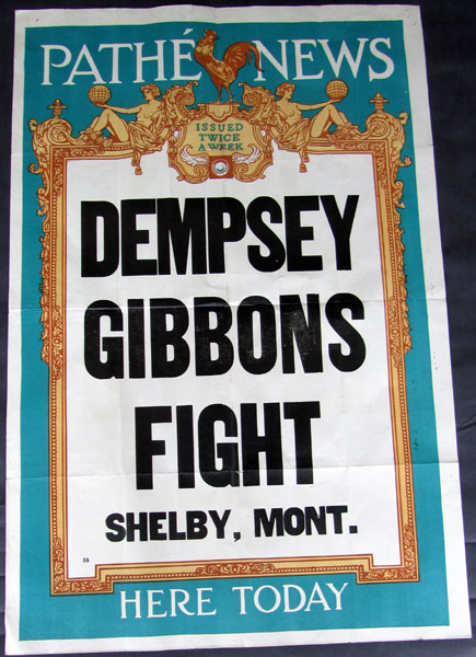 DEMPSEY, JACK-TOMMY GIBBONS PRE FIGHT POSTER (1923)