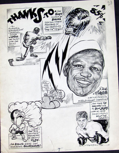 BOXING CARTOON ART BY TED CARROLL (LISTON< CLAY & TIGER-1963)