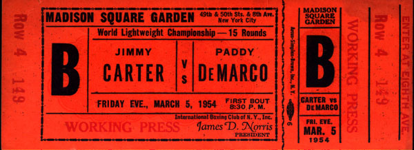 CARTER, JIMMY-PADDY DEMARCO FULL TICKET (1954)