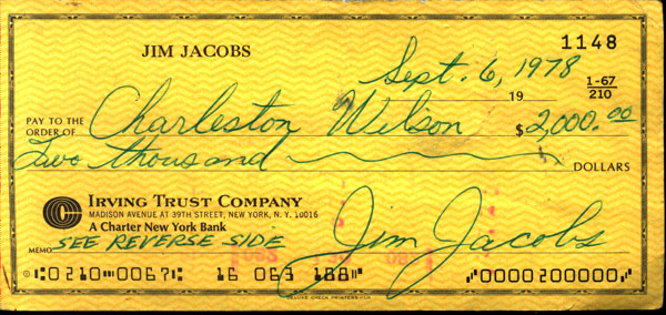 JACOBS, JIMMY SIGNED CHECK