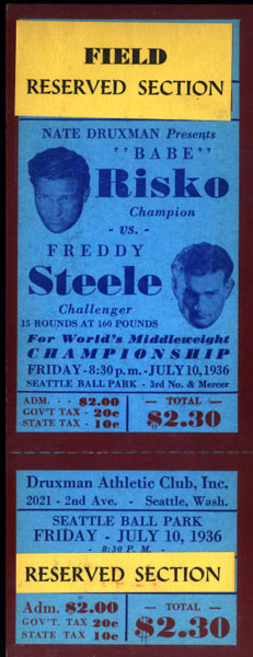 "STEELE, FREDDY-""BABE"" RISKO FULL TICKET (1936)"