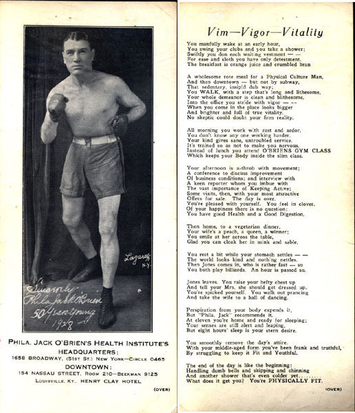O'BRIEN, PHILADELPHIA JACK HEALTH INSTITUTE BROADSIDE (1928)