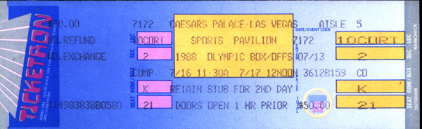1988 OLYMPIC BOXOFFS FULL TICKET (JONES,JR.,CARBAJAL, BOWE, MERCER)