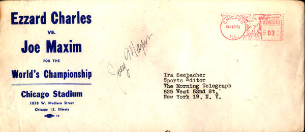 CHARLES, EZZARD-JOEY MAXIM FIGHT ENVELOPE SIGNED BY MAXIM (1951)