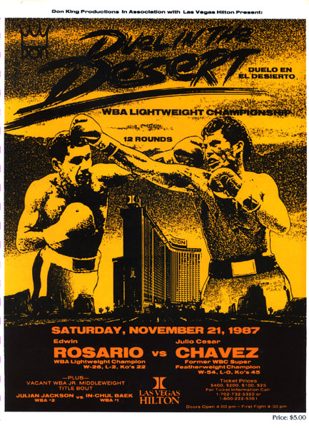 CHAVEZ, JULIO CESAR-EDWIN ROSARIO OFFICIAL PROGRAM (1987)
