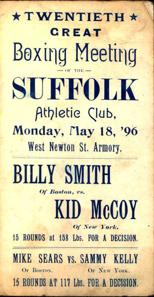 "MCCOY, KID-""MYSTERIOUS"" BILLY SMITH OFFICIAL PROGRAM (1896)"
