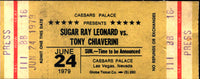 LEONARD, SUGAR RAY-TONY CHIAVERINI OFFICIAL STUBLESS TICKET (1979)