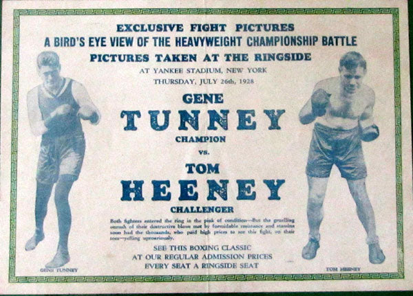 TUNNEY, GENE-TOM HEENEY FIGHT FILM BROADSIDE POSTER (1928)