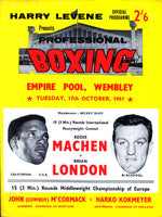 MACHEN, EDDIE-BRIAN LONDON OFFICIAL PROGRAM (1961)