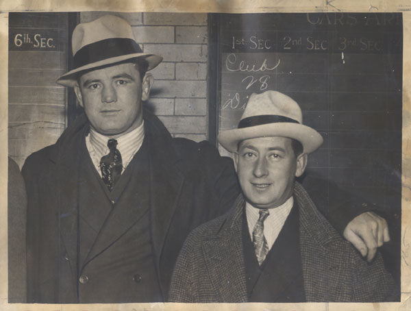 BRADDOCK, JAMES J. & JOE GOULD ORIGINAL WIRE PHOTO (1937)