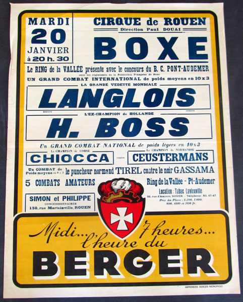 LANGLOIS, PIERRE-HARRY BOSS ORIGINAL ON SITE POSTER (1953)