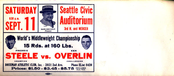 STEELE, FREDDIE-KEN OVERLIN FIGHT ENVELOPE (1937)