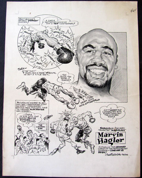 HAGLER, MARVIN ORIGINAL CARTOON ART (BY CHARLIE MCGILL-RING MAGAZINE-1980)