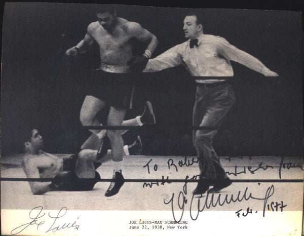 LOUIS, JOE & MAX SCHMELING SIGNED PHOTO (2ND FIGHT-1938)