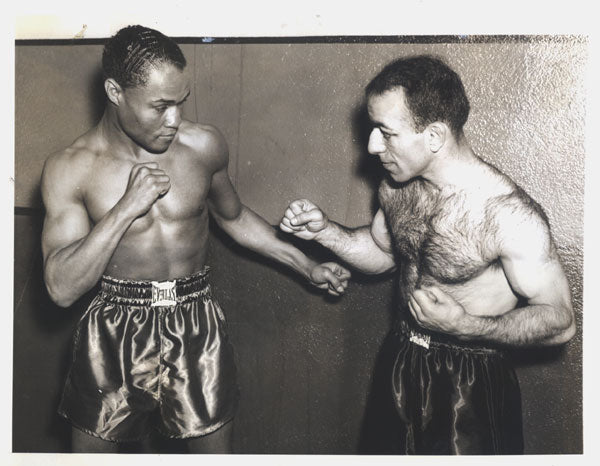 ARMSTRONG, HENRY-PETEY SARRON ORIGINAL WIRE PHOTO (SQUARING OFF-1937)