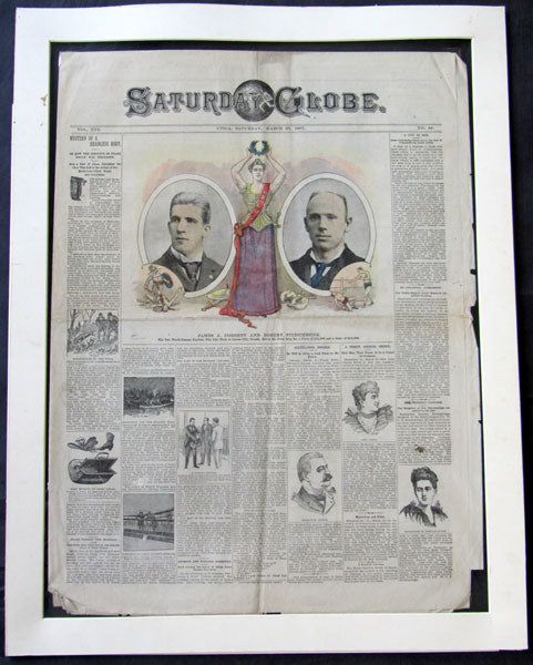 FITZSIMMONS, ROBERT-JAMES J. CORBETT ORIGINAL FIGHT NEWSPAPER (1897)