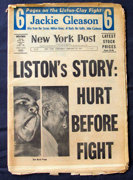 CLAY, CASSIUS-SONNY LISTON I ORIGINAL NEWSPAPER (1964-NEW YORK POST)