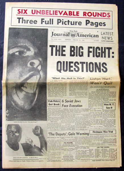 CLAY, CASSIUS-SONNY LISTON I ORIGINAL NEWSPAPER (JOURNAL AMERICAN-1964)