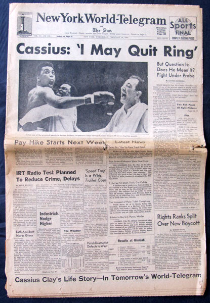 CLAY, CASSIUS-SONNY LISTON I ORIGINAL NEWSPAPER (1964-NEW YORK WORLD TELEGRAM)