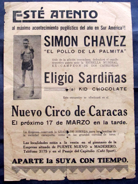 CHOCOLATE, KID (ELIGIO SARDINAS)-SIMON CHAVEZ ON SITE POSTER (1935)