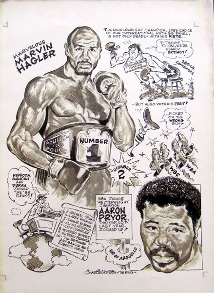 1983 POUND FOR POUND RATINGS CARTOON ARTWORK (BY CHARLIE MCGILL-HAGLER, PRYOR)