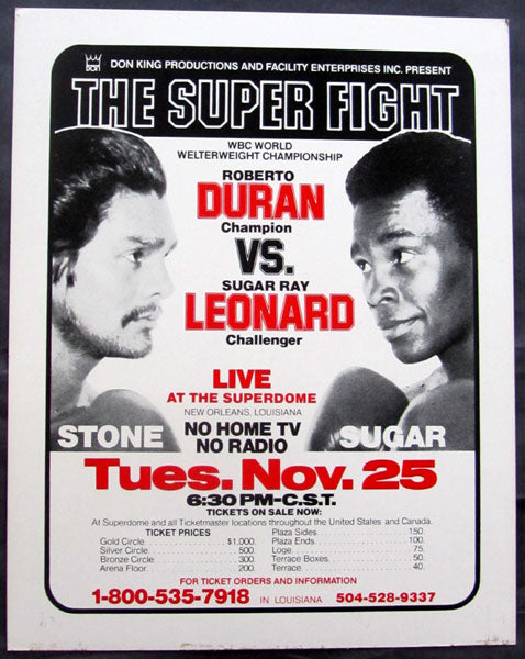 LEONARD, SUGAR RAY-ROBERTO DURAN II ON SITE POSTER (1980)