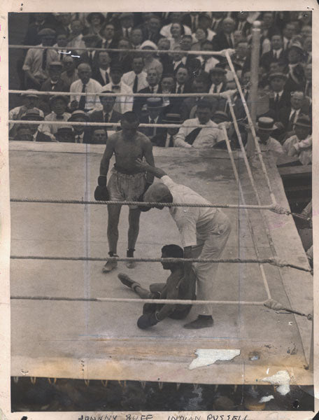 BUFF, JOHNNY-INDIAN RUSSELL ORIGINAL WIRE PHOTO (1921)