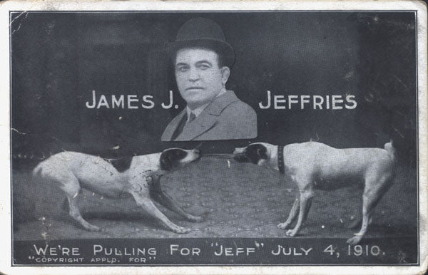 JEFFRIES, JAMES J.-JACK JOHNSON ORIGINAL SOUVENIR POSTCARD (1910)