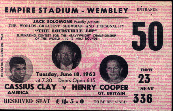 CLAY, CASSIUS-HENRY COOPER I STUBLESS OFFICIAL TICKET (1963)