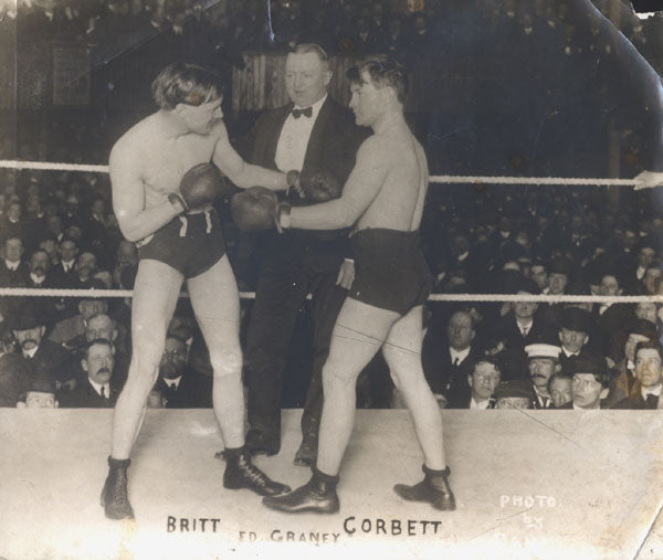 BRITT, JIMMY-YOUNG CORBETT II ORIGINAL ANTIQUE PHOTO (1904-PREFIGHT)