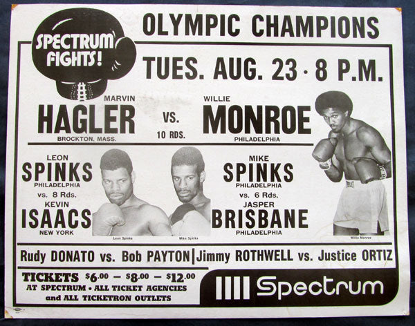 HAGLER, MARVIN-WILLIE MONROE & SPINKS BROTHERS ON SITE POSTER (1977)