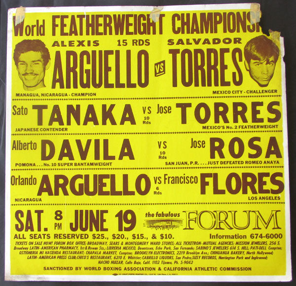 ARGUELLO, ALEXIS-SALVADOR TORRES ON SITE POSTER (1976)
