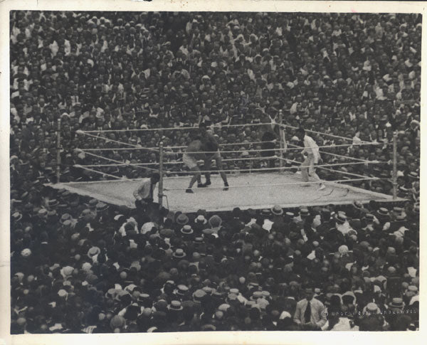 DEMPSEY, JACK-GEORGES CARPENTIER ORIGINAL WIRE PHOTO (1921)