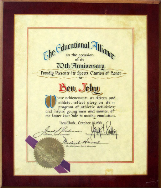 JEBY, BEN THE EDUCATIONAL ALLIANCE AWARD (1961)