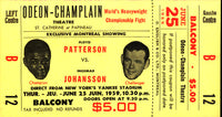 PATTERSON, FLOYD-INGEMAR JOHANSSON I ORIGINAL FULL CLOSED CIRCUIT TICKET (1959)