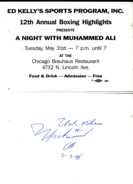 ALI, MUHAMM SIGNED APPEARANCE TICKET (1988)